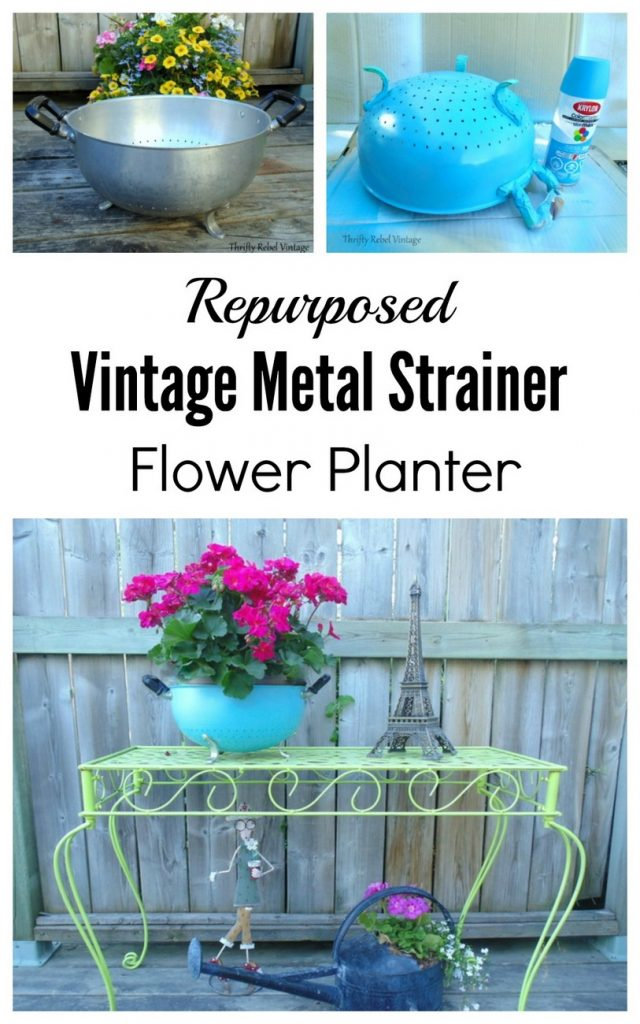 Repurposed vintage metal strainer planter