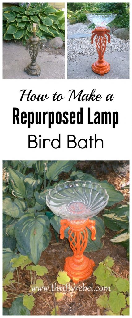How to make a repurposed lamp bird bath