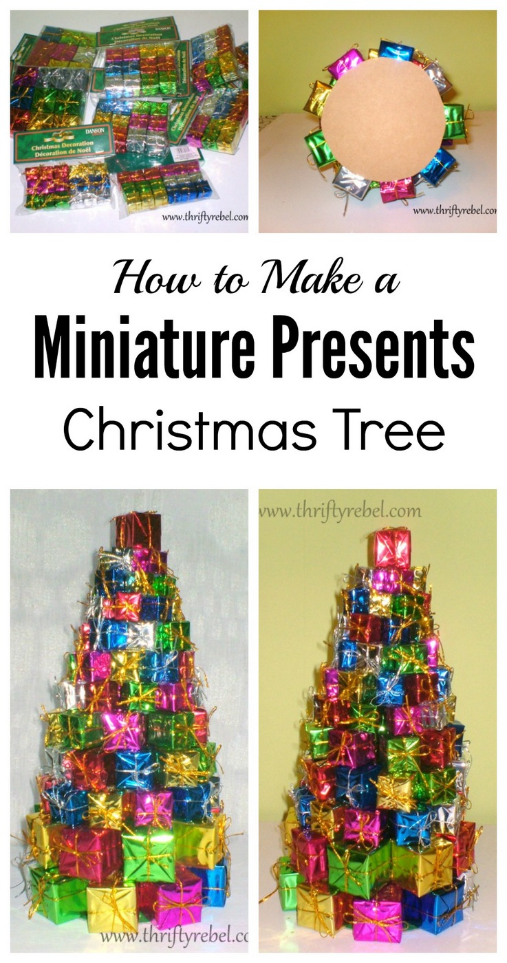 how to make a miniature presents christmas tree - Dollar Store Christmas Tree