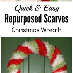 How to make a repurposed scarves Christmas wreath