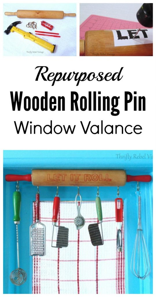 Repurposed wooden rolling pin window valance