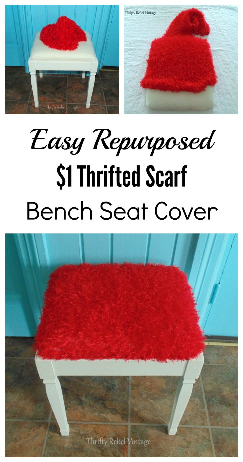 Repurposed scarf bench seat cover