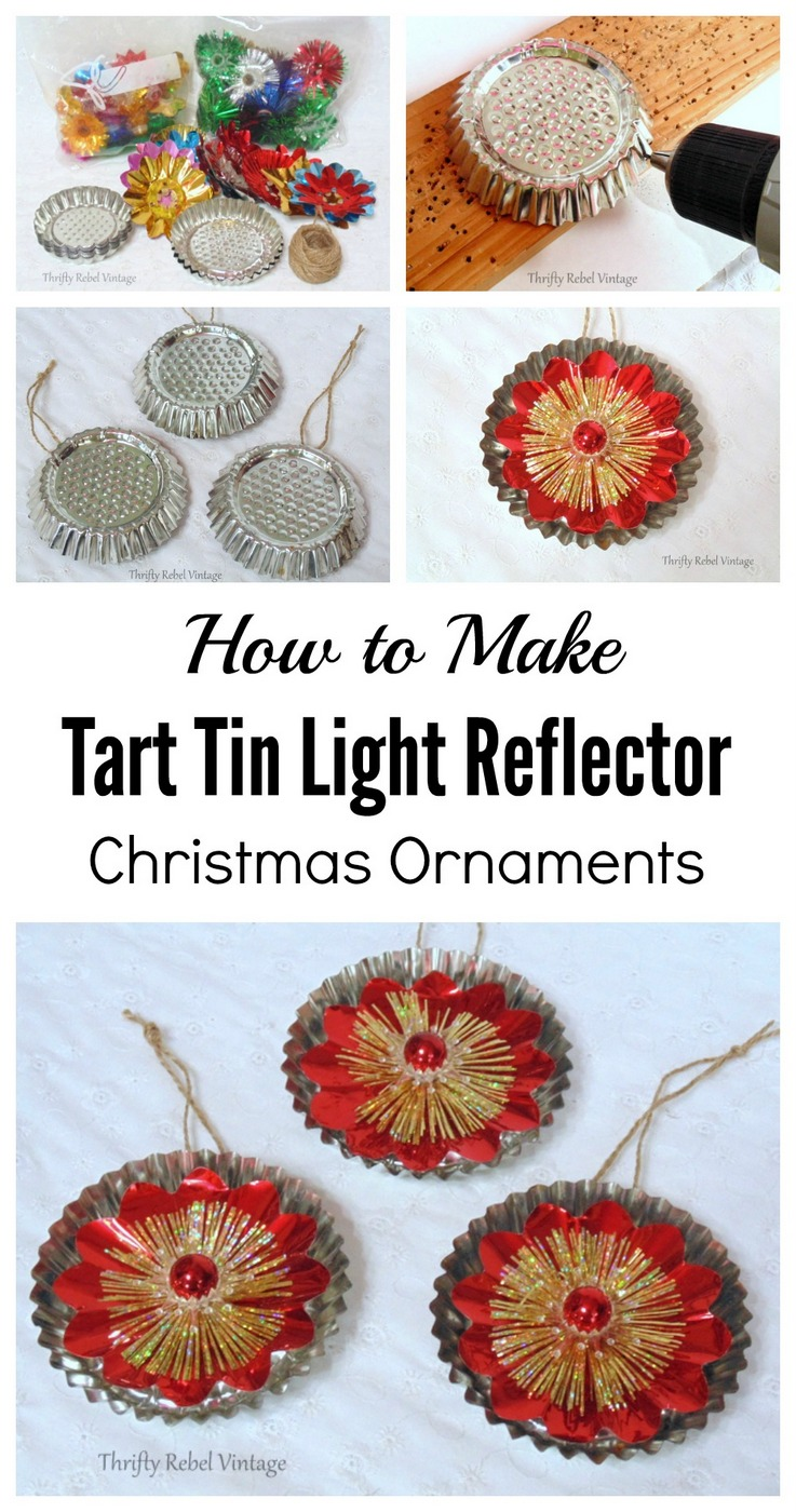 How to make tart tin light reflection Christmas ornaments