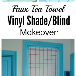 Faux tea towel vinyl blind or shade makeover