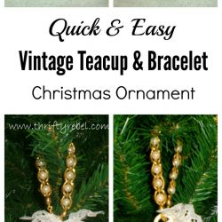 Vintage teacup and bracelet Christmas ornament