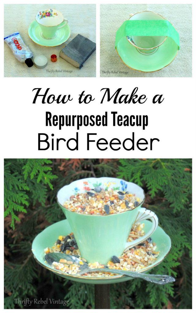 How to make a repurposed teacup bird feeder
