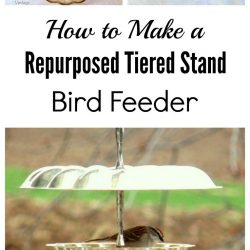 How to make a repurposed tiered stand bird feeder
