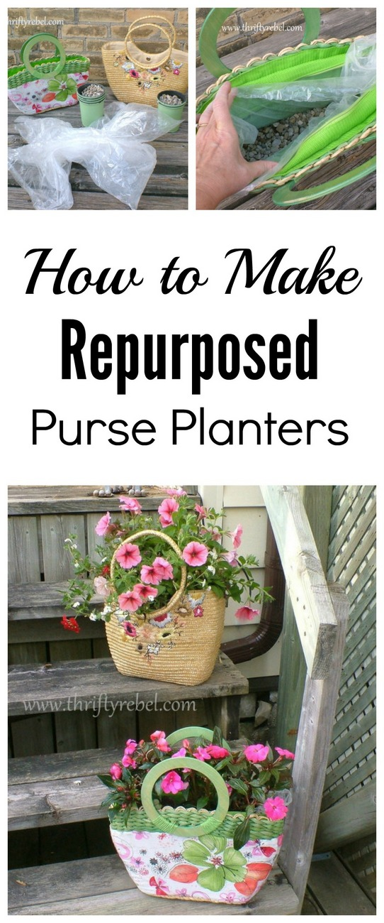 How to make repurposed purse planters