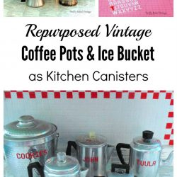 Repurposed coffee pot kitchen canisters