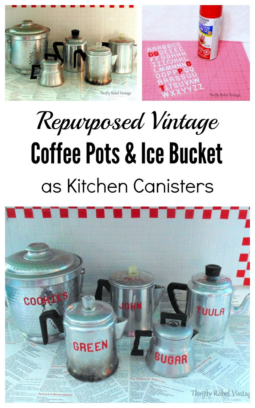 Repurposed vintage coffee pot kitchen canisters