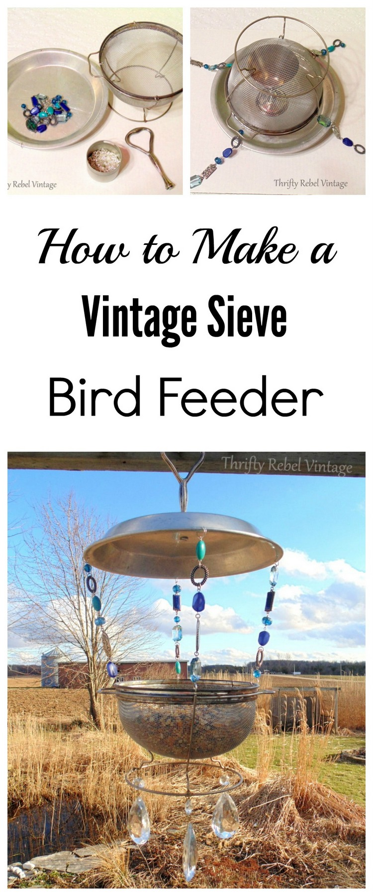 How to make a repurposed vintage sieve bird feeder