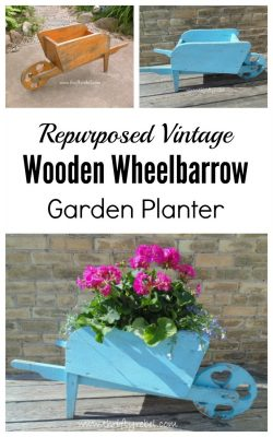 Repurposed vintage wooden wheelbarrow garden planter