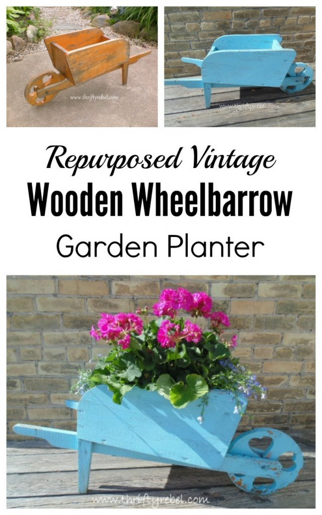 Repurposed vintage wooden wheelbarrow garden planter