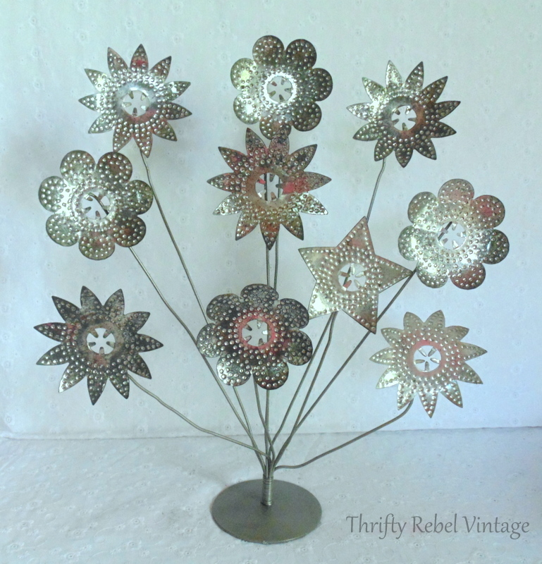 vintage metal card holder light reflector flowers