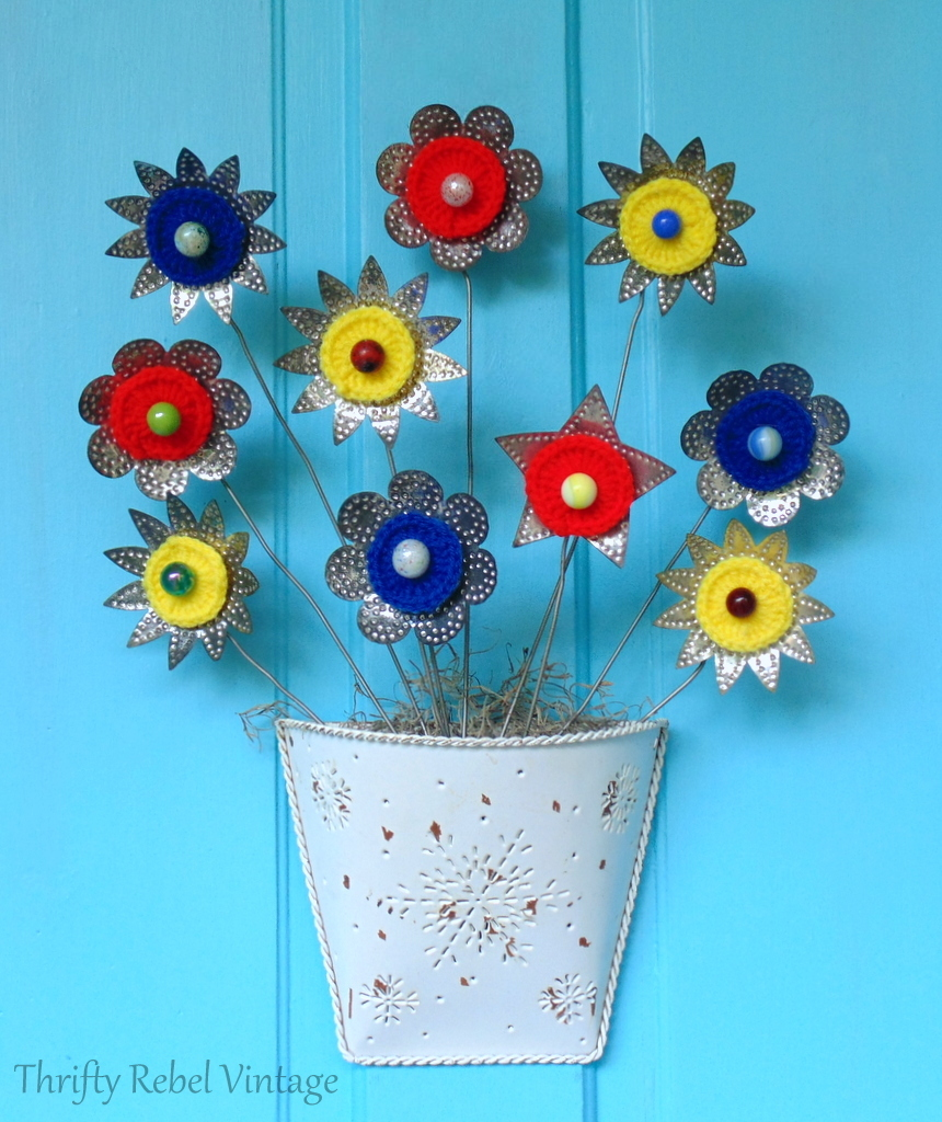 repurposed card holder and light reflector flowers door decor