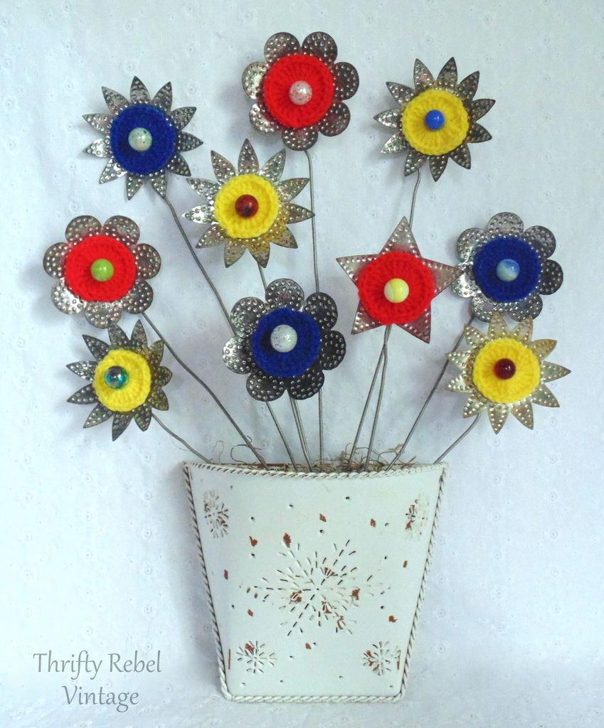 repurposed light reflector flowers door decor