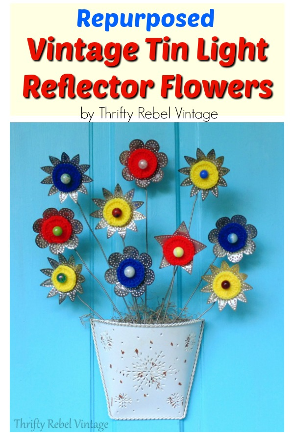 Repurposed tin light reflector flowers