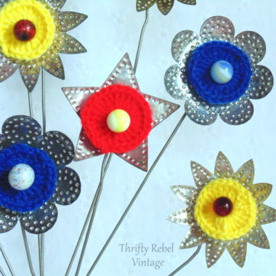 vintage tin light reflector flowers