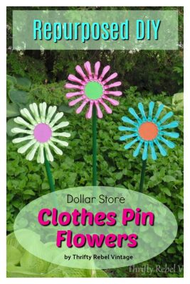 Dollar Store Clothes Pin Flowers