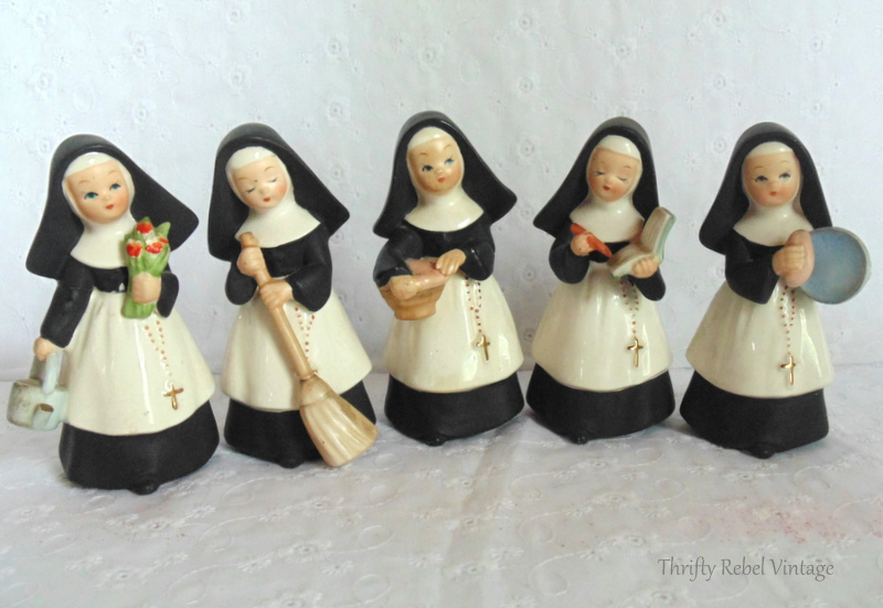 Set of 5 Vintage Japan nun figurines