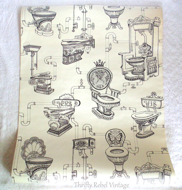 vintage bathroom toilet wallpaper