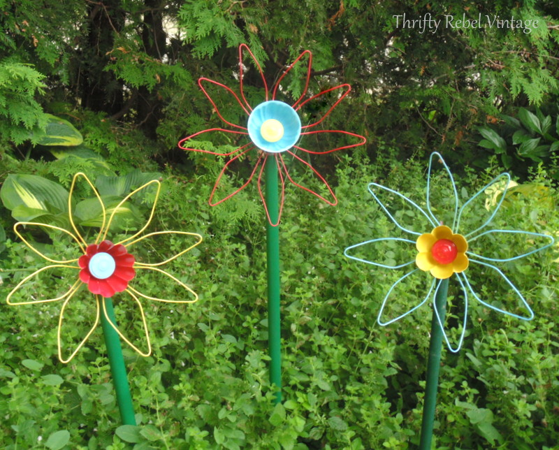 repurposed gutter leaf strainer flowers