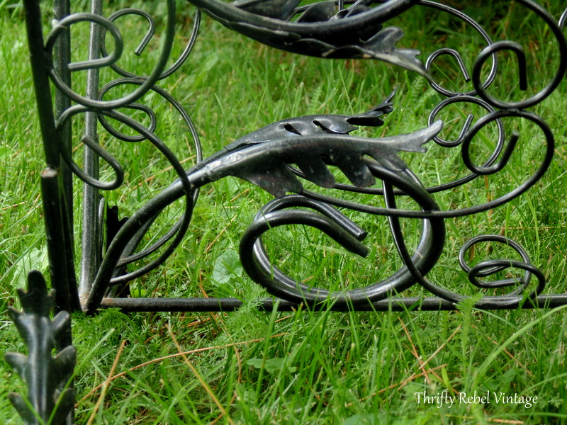 repurposed vintage magazine rack planter close up of details