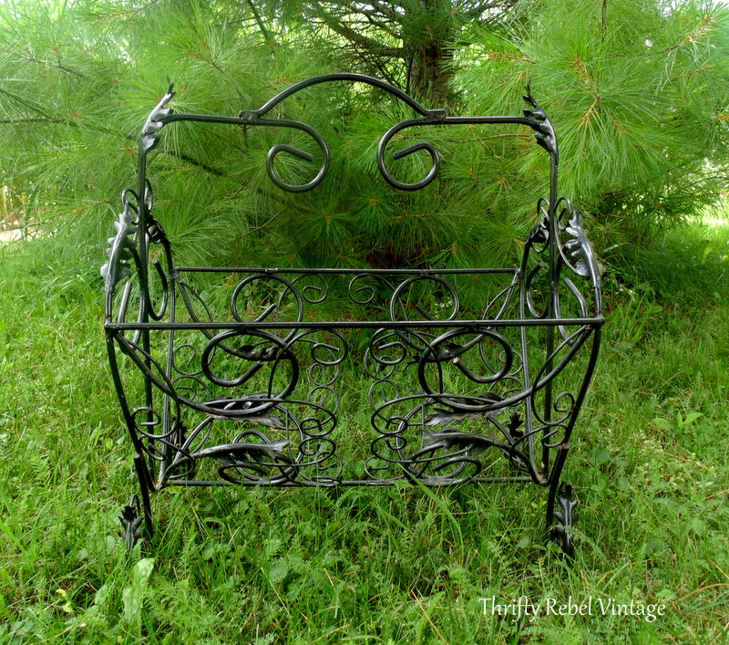 repurposed vintage magazine rack planter front view
