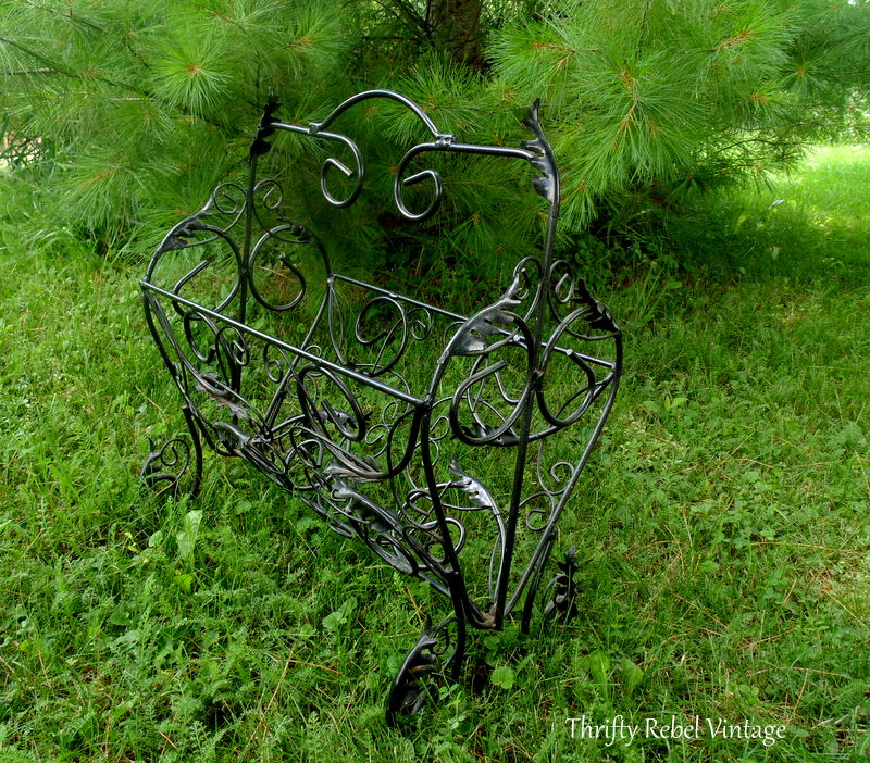 repurposed vintage magazine rack planter side view