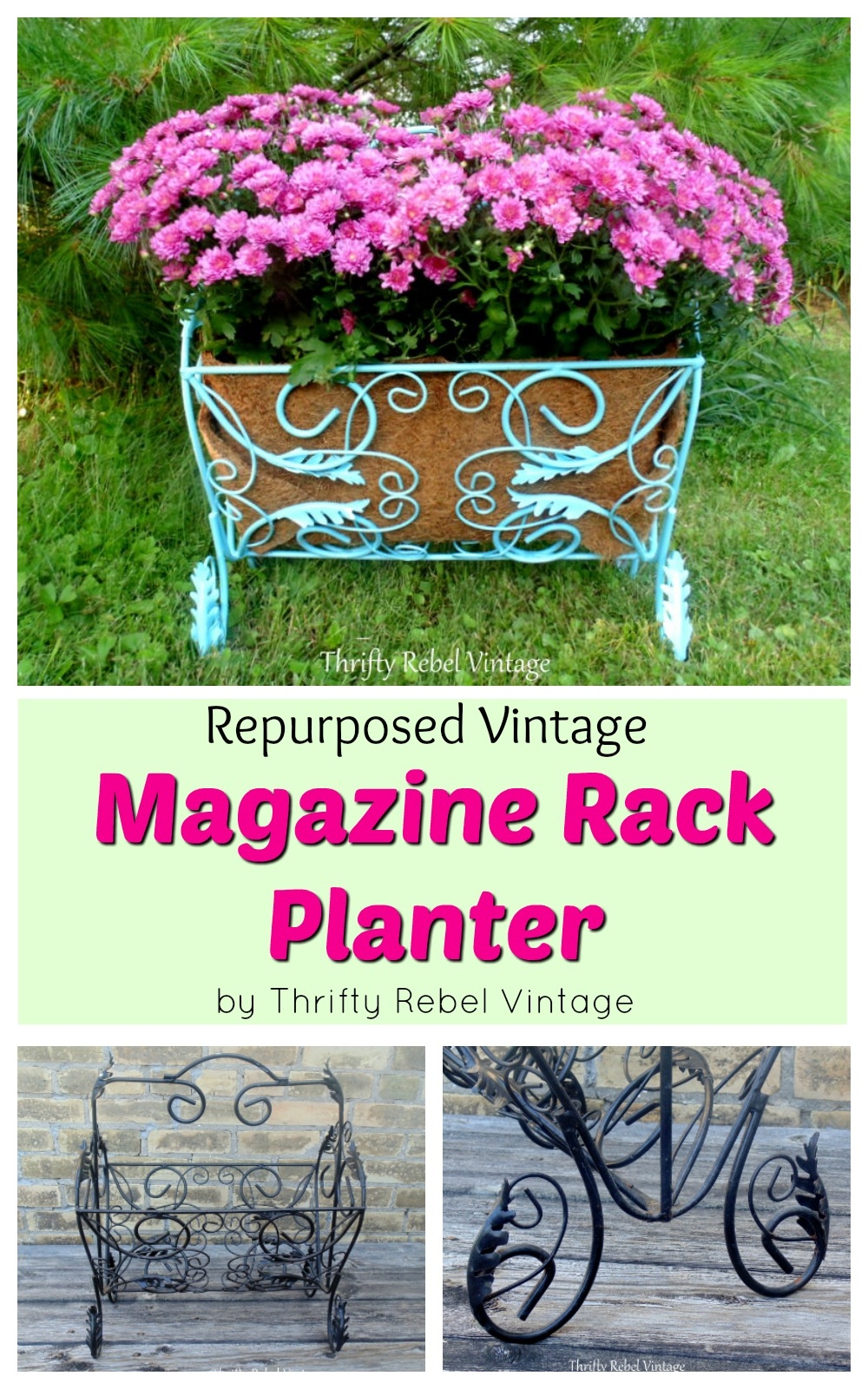 Repurposed vintage Magazine rack planter collage