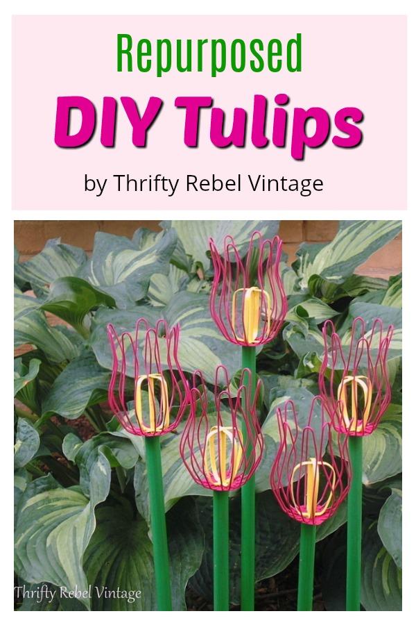 Create some fun diy tulips for your garden using repurposed materials.