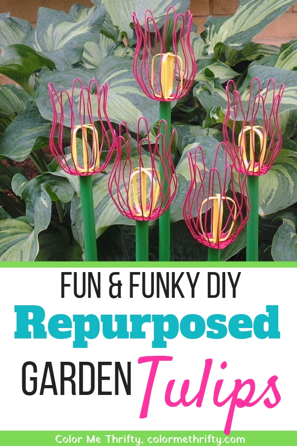 repurposed gutter strainer diy garden tulips 1