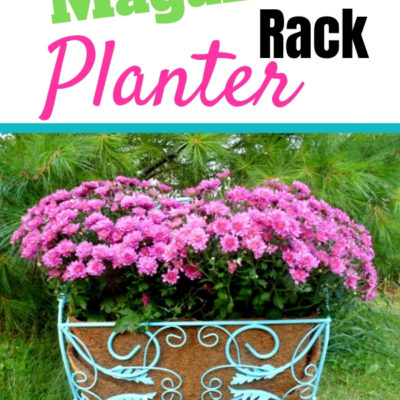 repurposed magazine rack planter