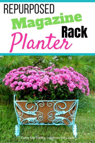 repurposed magazine rack planter