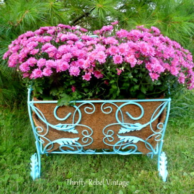 Repurposed Vintage Magazine Rack Planter