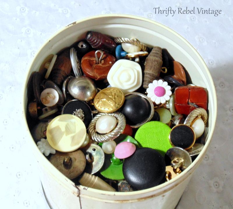Container 1 of thrifted buttons for craft and repurposing projects