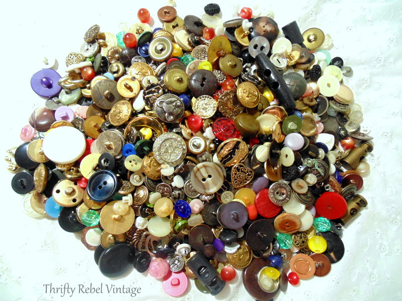 Container 2 emptied of thrifted buttons for craft and repurposing projects