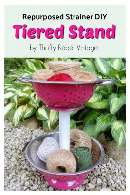 Create a quick and easy repurposed strainer DIY tiered stand