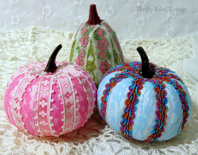 How to create quick and easy lace and ribbon pumpkins using dollar store mini crafting pumpkins