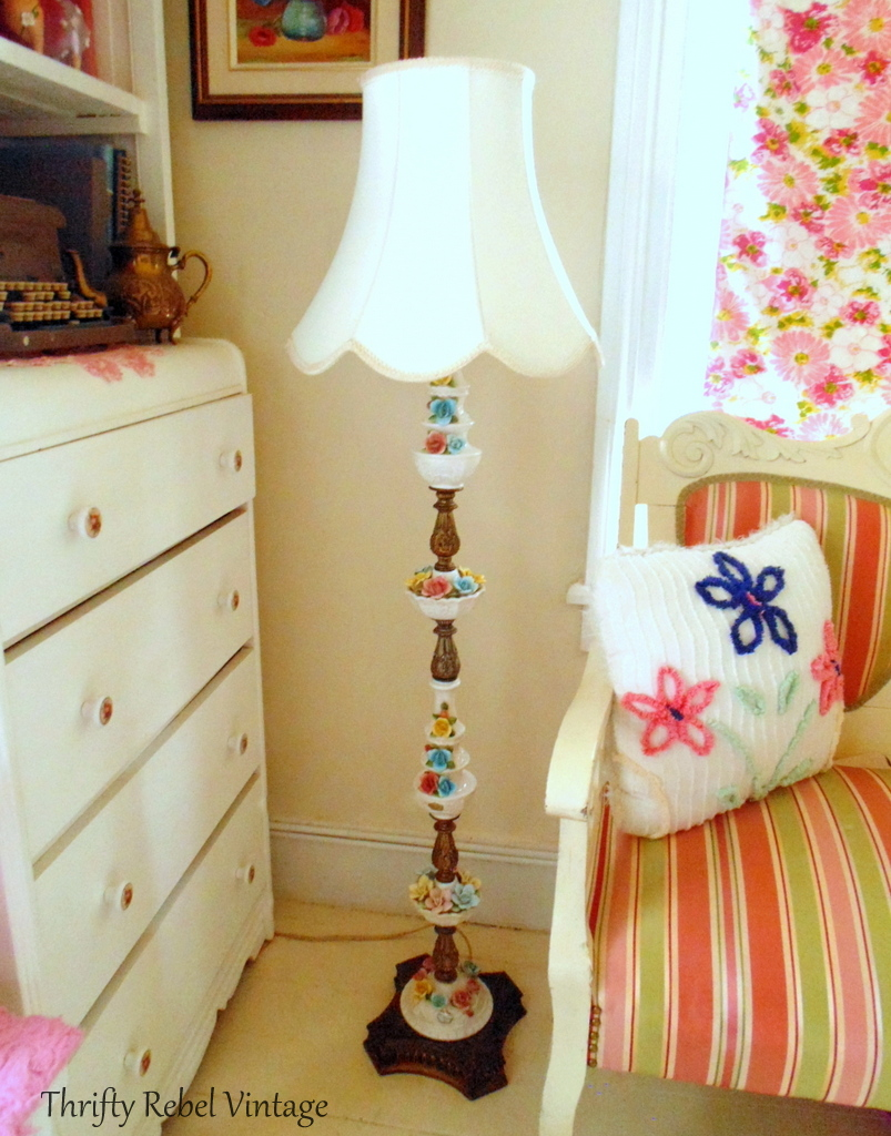 Lovely vintage bone china roses lamp with metal base and sections and creamy white fabric lamp shade