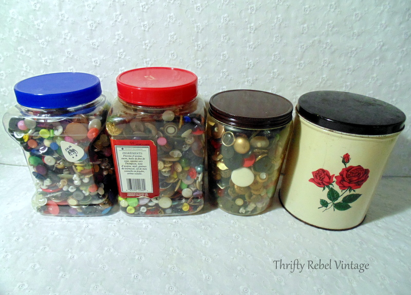 Thrifted buttons for craft and repurposing projects