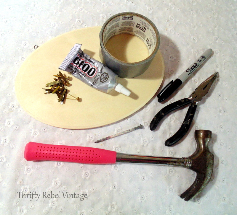 Tools needed for repurposed owl fall door decor project.