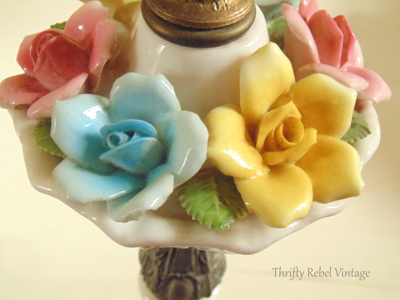 after cleaning vintage bone china roses lamp
