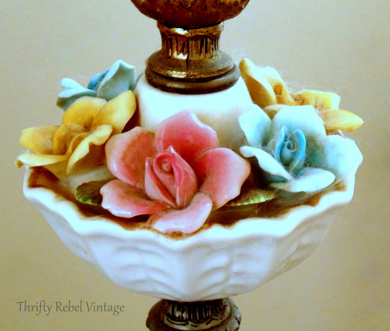 before cleaning vintage bone china roses lamp
