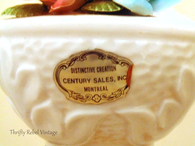century sales label on vintage bone china roses lamp