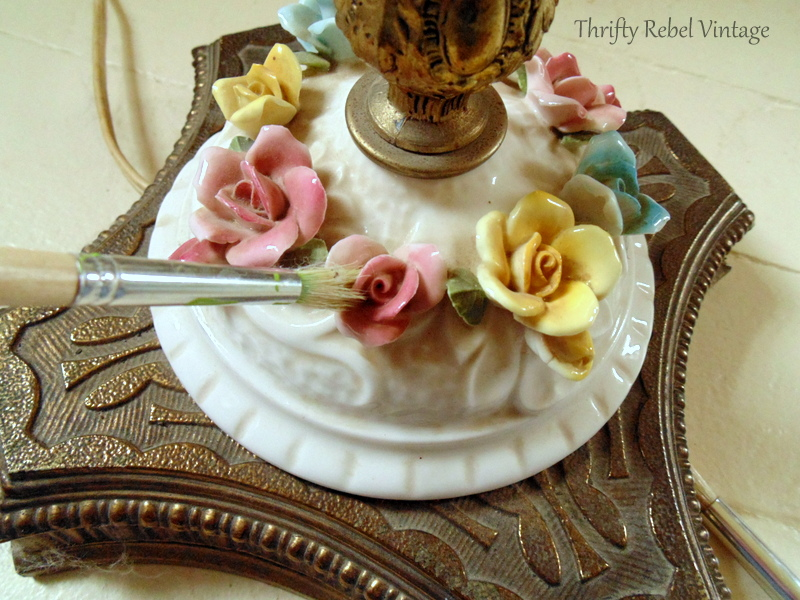 cleaning vintage bone china roses lamp with slightly damp paint brush