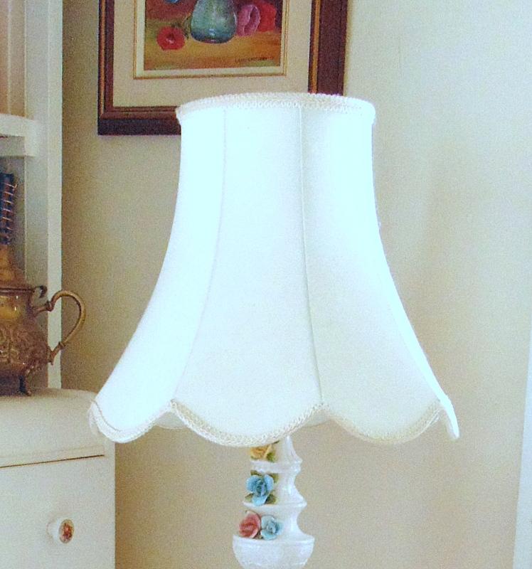 fabric lamp shade on vintage bone china roses lamp