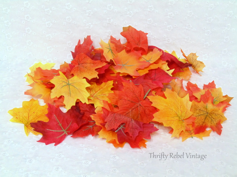 faux leaves removed from stems for quick and easy fall wreath