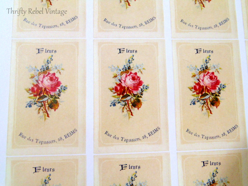french floral graphic for decoupaged knobs