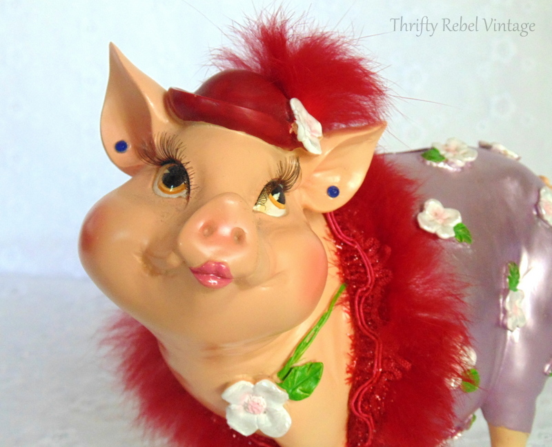 Fabulous Friday Find girly pig piggy bank with red feather boa